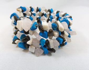 Black, Blue, and White Stone Bead Memory Wire Bracelet