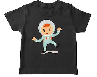 Cute Cartoon Girl In An Astronaut Costume Boy's Black Halloween T-shirt