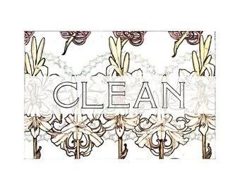 Dishwasher Magnet Clean Dirty Flip Sign Art Nouveau Jacobean Flowers shabby wife gift hostess