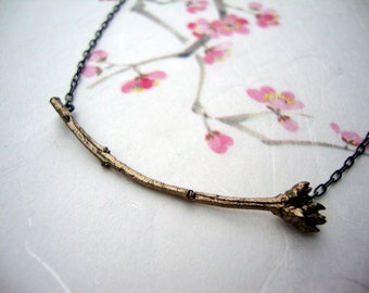 Lilac bud necklace cast in Bronze