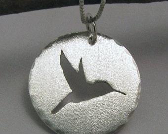 Pendant Sterling Silver Hand Sawn Hummingbird Silhouette