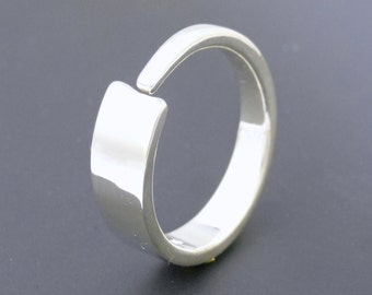 Sterling Silver Enso Ring Modern Ring Contemporary Silver Band Artisan Jewelry Silversmith Unique Wedding Band Unisex Silver Band Metalmith