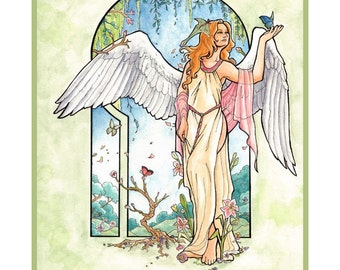 Angel of Spring with Luna Moth, Butterflies, and Flowers Mucha Inspired Art Nouveau Angels of the Seasons Series Fine Art Poster Print