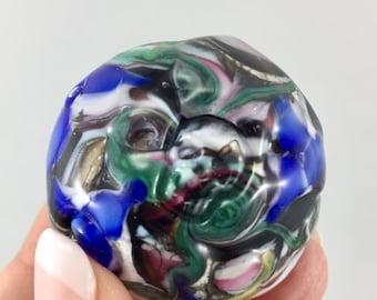 skull paper weight, colourful glass, 6 glass skull impressions, decorative skulls, lampwork paperweight, miniature paperweight, lampwork orb