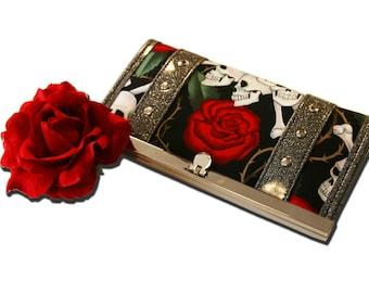 Skull & Roses Wallet - Vinyl Wallet - Sparkle Wallet - Biker Wallet - Rockabilly - MADE TO ORDER