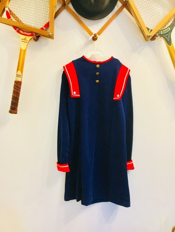 Vintage 1960s Size 12 Blue + Red American Star Little Girl's Dress - 100% Acrylic Made in USA