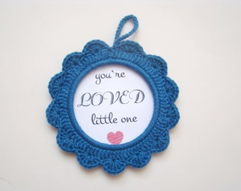Blue crochet photo frame nursery decor baby shower favors baby shower gifts baby gender announcement ideas pregnancy announcement