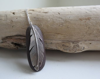 Sterling Silver Feather and Stone Necklace