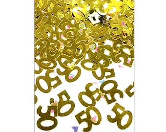Gold 50th Anniversary table confetti, wedding anniversary, Golden Wedding, 50th Wedding Anniversary, table decorations, UK seller, gold 50