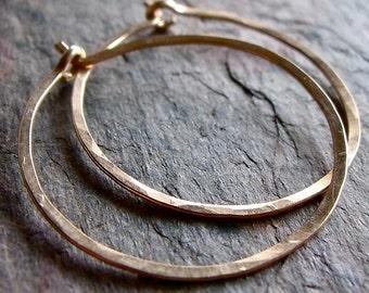 Gold Filled Hoop Earrings - Handmade Lightweight 14K Goldfill Hammered Hoops