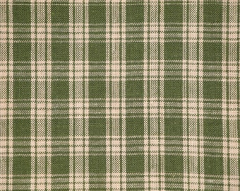 Homespun Material | Green And Tea Dye Basic Plaid Material | Rag Quilt Fabric | Sewing Fabric | Cotton Fabric