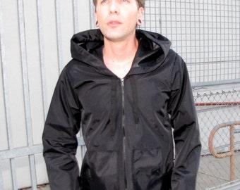 Mens Clothing Windbreaker Jacket - black -nylon - waterproof - pockets - hoodie- long sleeved - winter coat - raincoat - upcycled clothing
