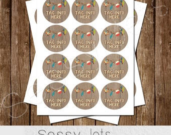 BOY 2 inch Favor Tags - Cupcake Toppers - Decorations - Fisherman - o-FISH-al Thank you - REEL excited