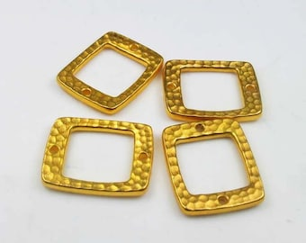4 Gold Tierracast Hammertone Rectangle Drilled Links