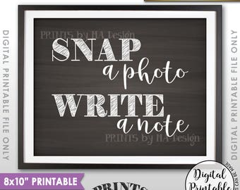 "Snap a Photo and Write a Note Sign, Take a Photo Guestbook, Birthday, Graduation, Reunion, 8x10"" Chalkboard Style Printable Instant Download"
