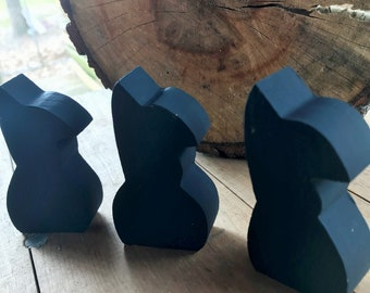 Wooden Little Black Bunnies Set