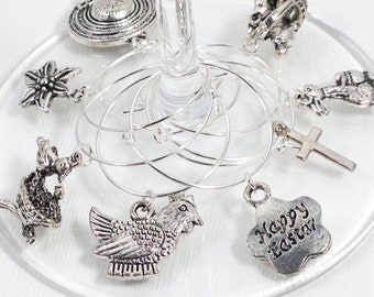 Easter hostess gift etsy easter wine glass charms easter hostess gift host gift easter themed gift negle Image collections