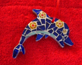 Dolphin Ornament or Suncatcher Stained Glass Mosaic