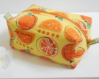 Oranges Cosmetic Bag/Boxy Zipper Bag/Zipper Pouch/Box Pouch/Womens Toiletry Bag/Boxy Cosmetic Bag