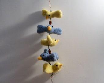 Felt Bird Mobile, Nursery Mobile, Needle Felted Mobile, FeltWithAHeart