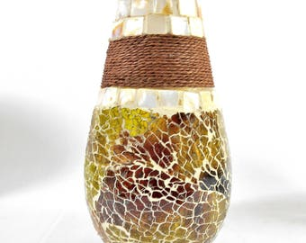Stained Glass Mosaic Vase w/Seashell Tiles and Rope - Medium
