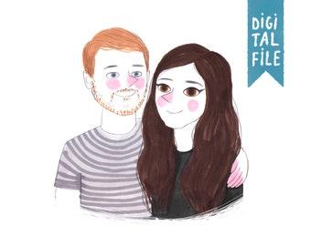 family portrait, custom portrait, illustrated couple portrait, personalized illustration, personalized portrait, illustrated family portrait