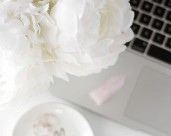 Styled Stock Photo | Flowers Over Laptop | Blog stock photo, stock image, stock photography, blog photography