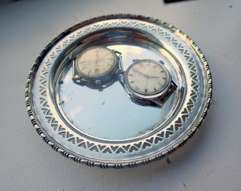 Vintage Silver Catch all Dish - Pierced Design - UK Made.
