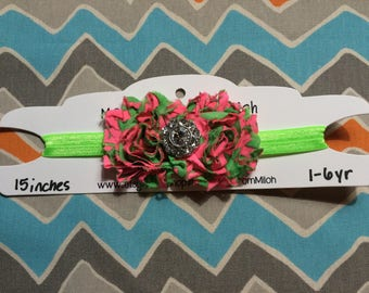 1-6 Year Old Sized Pink & Green Shabby Flower Headband w/ Jewel Center (15 inches)