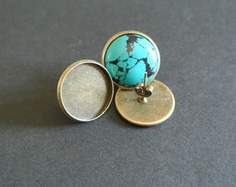 Pair of earrings supports round cabochon 16 mm bronze with post and backing for pierced ears