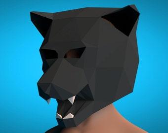 Panther masks, Panther papercraft, papercraft, 3d mask, Animal mask, Paper Templates, PDF papercraft, PDF templates, Panthera, low poly, PDF