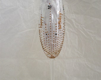21st Birthday Hand Painted Crystal Champagne Flute. Copper