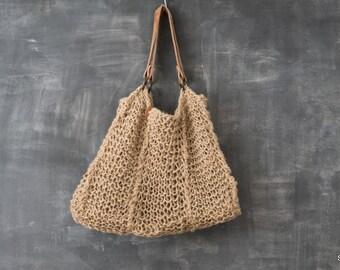 Burlap beach bag / handmade burlap shopper
