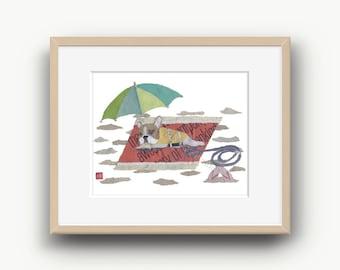 French Bulldog Art, Fawn & White French Bulldog, French Bulldog Gift, Frenchie Print