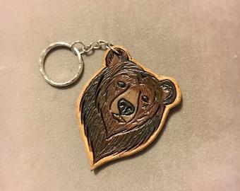 Custom Leather Black Bear Keychain - Bear Keychain Bear Keyring Gifts Under 20 Gifts for her gifts for him Nature lover gift brown bear