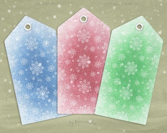 """Digital Christmas Gift Tags """"Colored Snowflakes Tags"""" clip art clipart instant download printable holiday xmas colored gift tags hang tags"""