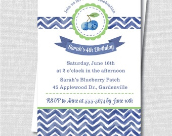 Watercolor Blueberry Birthday Party Invitation - Blueberry Themed Party Invite - Digital Design or Printed Invitations - FREE SHIPPING