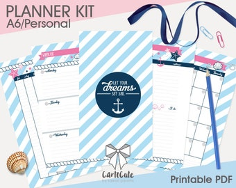 Printable PLANNER KIT - A6/Personal - Daily/Weekly/Monthly, Bookmarks/Dividers, Cover, Contacts, Notes inserts refill + stickers