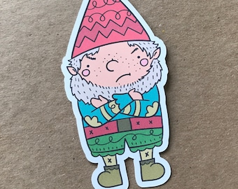 Nope Gnarley the Gnome, Die Cut, Gnome, Travelers Notebook Supplies, Bookmark