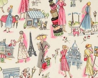 Retro fabric, fabric patchwork, springtime in Paris Miller in coupon