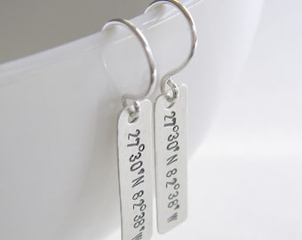 Latitude Longitude Bar Earrings - Personalized Coordinates - Hand Stamped and Textured Genuine Sterling Silver - Optional Birthstone Drops