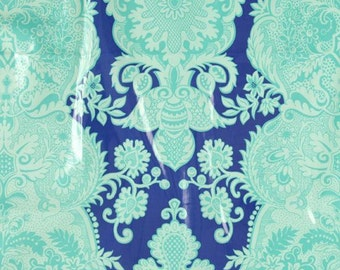 """REMNANT 1/2 yard, 56"""" wide, Laminated cotton fabric Westminster Fiber Amy Butler Sandlewood Periwinkle"""