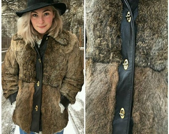 Fur and Leather Vintage Coat