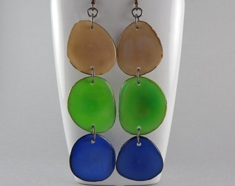 Tan and Green and Colalt Blue Shoulder Duster Trio of Tagua Nut Eco Friendly Earrings with Free USA Shipping #taguanut #ecofriendlyjewelry