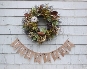 Thanksgiving Decor, Thanksgiving Banner, Thankful Burlap Banner, Thankful Bunting, Thanksgiving Burlap Garland, Happy Thanksgiving Sign