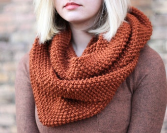 Bumpy Dark Pumpkin Orange Rust Infinity Scarf