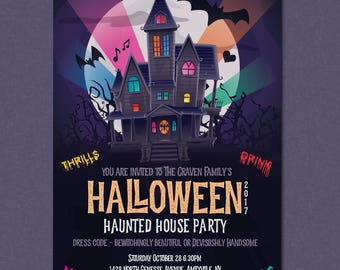 Printable Custom Halloween Party Invitation - Haunted House Birthday Invite - DIGITAL FILE