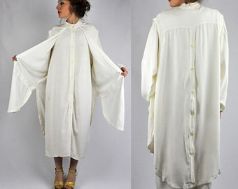 SALE Vintage 80s Asymmetrical  Dress - Off White Maxi Tunic Vest Attached - Button Up Back Button Down Front - Oversized Middle Eastern M L
