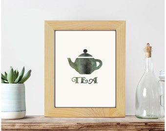 Tea print, kitchen decor, kitchen print, tea poster, teapot print, tea wall art, watercolor teapot decor, printable decor, printable art