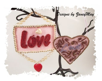 """Signs of the Season """"Love"""" Ornaments, Beading Tutorial in PDF"""